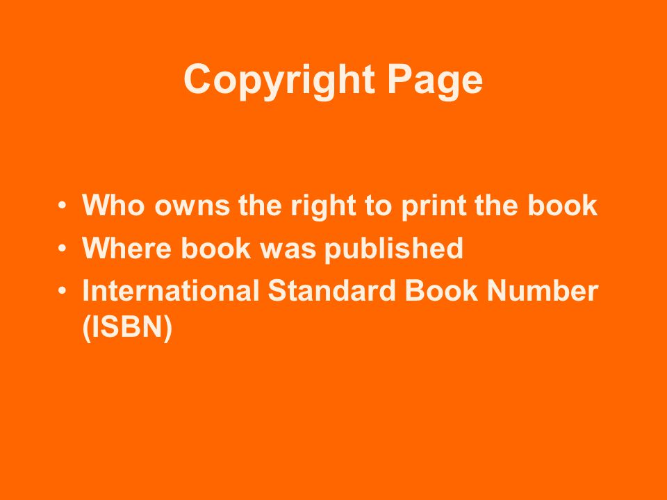 Copyright Page Who owns the right to print the book