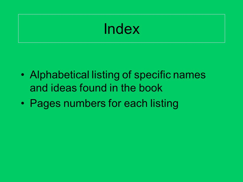 Index Alphabetical listing of specific names and ideas found in the book.