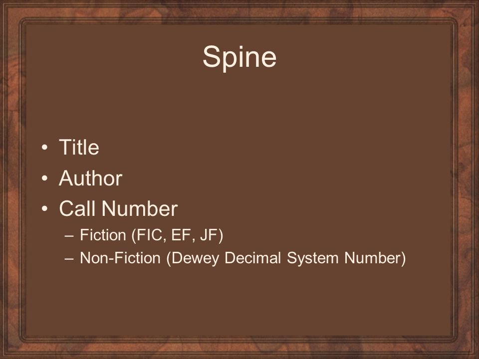 Spine Title Author Call Number Fiction (FIC, EF, JF)
