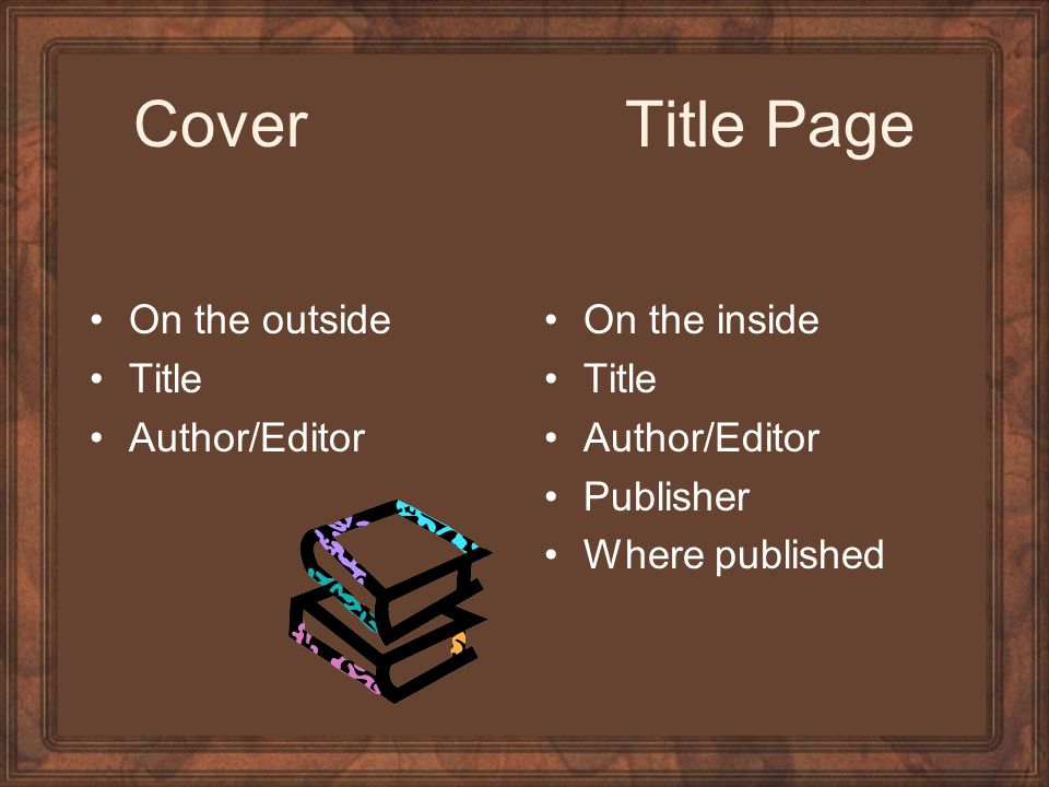 Cover Title Page On the outside Title Author/Editor On the inside