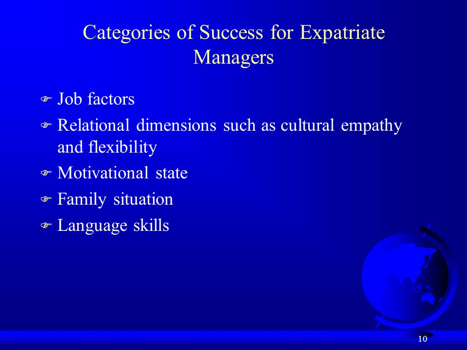 Categories of Success for Expatriate Managers