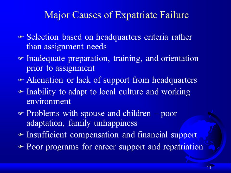 Major Causes of Expatriate Failure