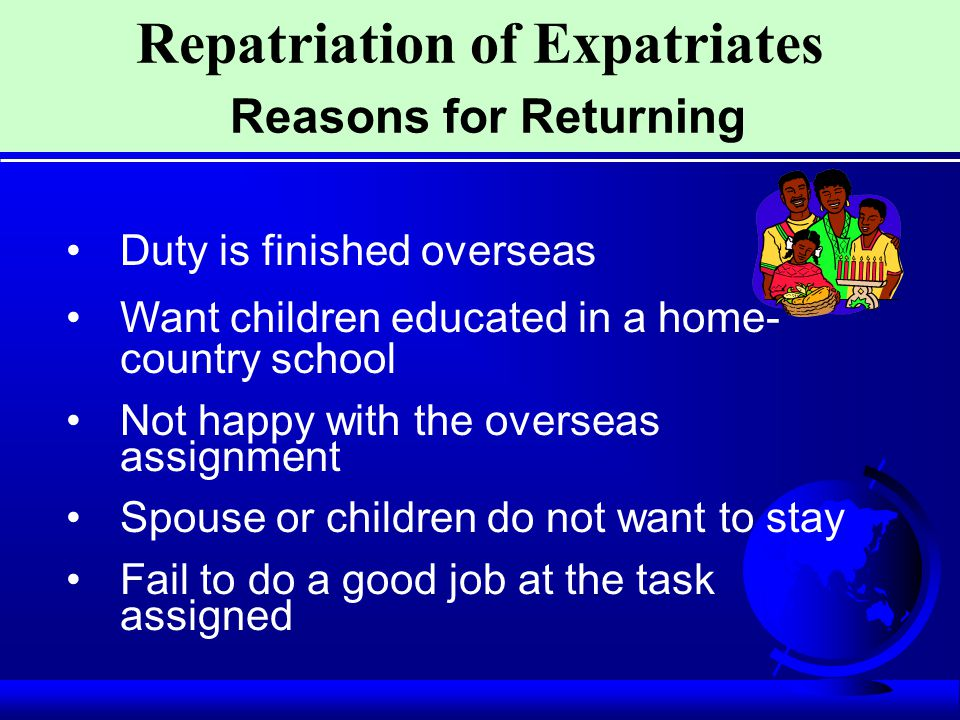 Repatriation of Expatriates Reasons for Returning