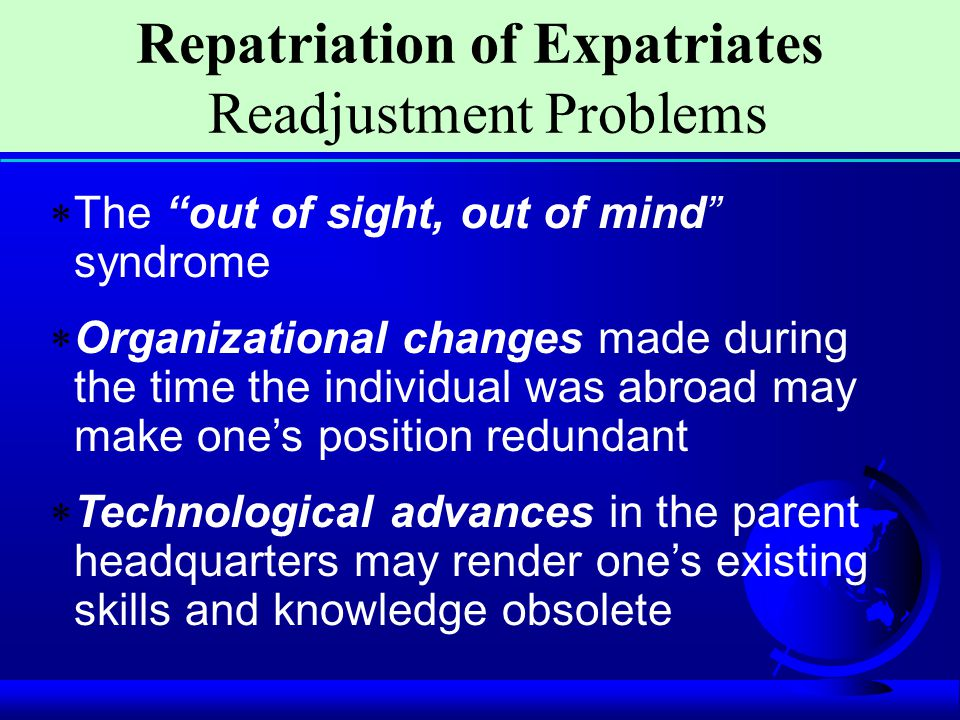 Repatriation of Expatriates Readjustment Problems