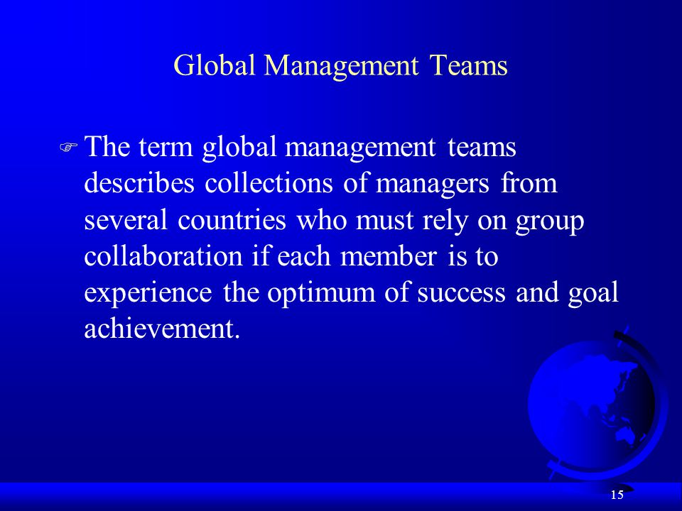 Global Management Teams