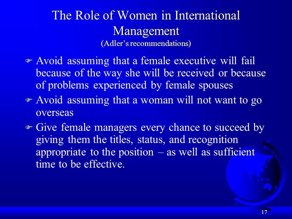 The Role of Women in International Management (Adler's recommendations)