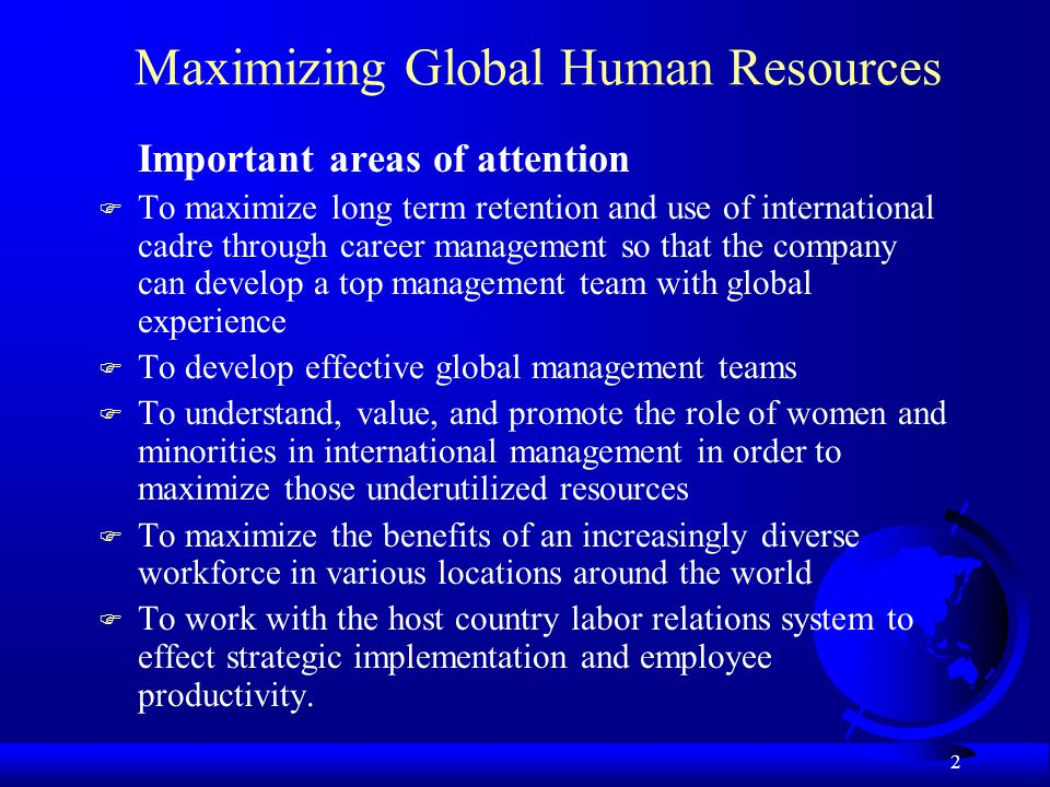 Maximizing Global Human Resources