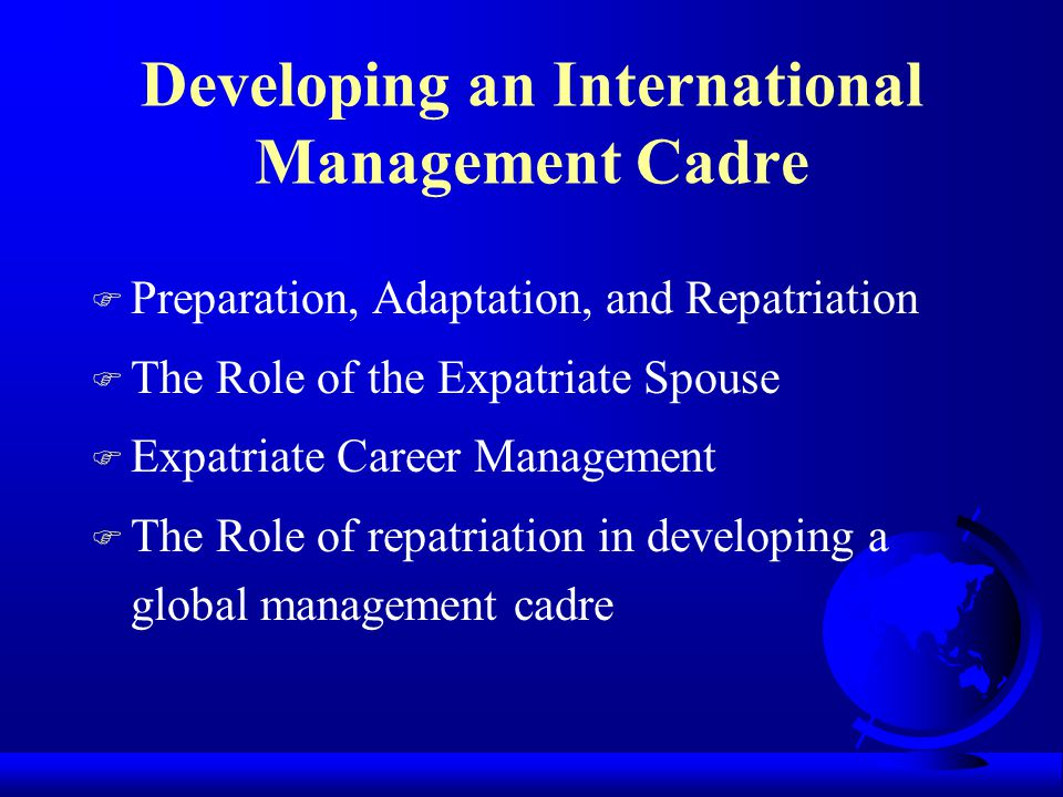 Developing an International Management Cadre