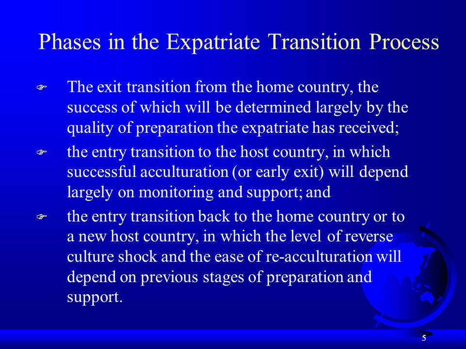 Phases in the Expatriate Transition Process