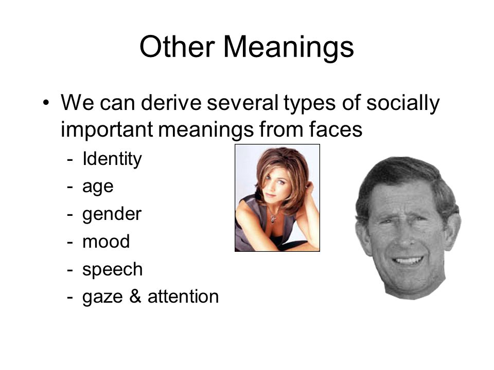 Other Meanings We can derive several types of socially important meanings from faces. Identity. age.