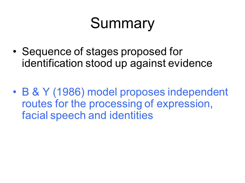 Summary Sequence of stages proposed for identification stood up against evidence.