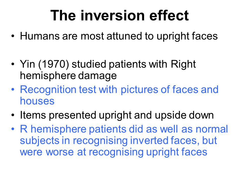 The inversion effect Humans are most attuned to upright faces
