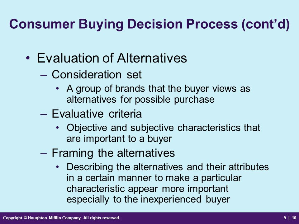 Consumer Buying Decision Process (cont'd)