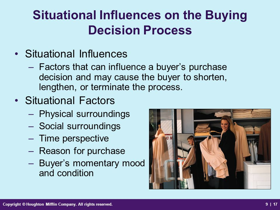 Situational Influences on the Buying Decision Process