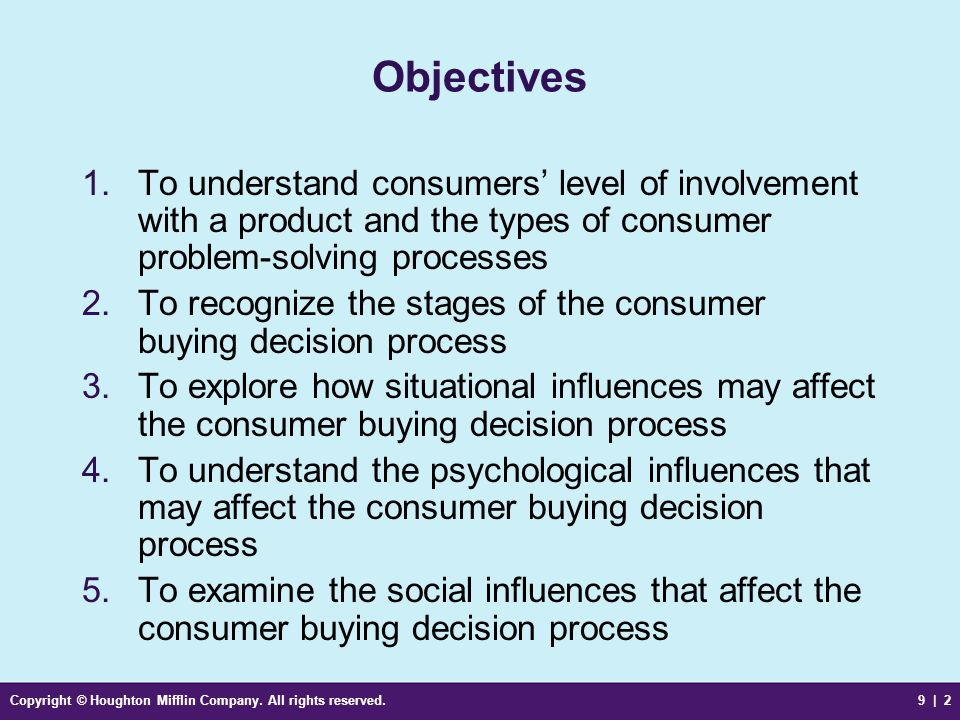 Objectives To understand consumers' level of involvement with a product and the types of consumer problem-solving processes.