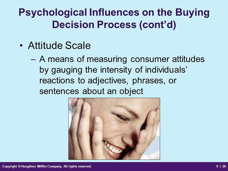Psychological Influences on the Buying Decision Process (cont'd)