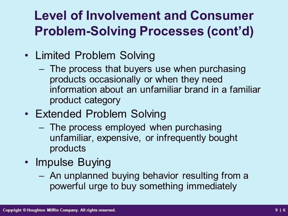 Level of Involvement and Consumer Problem-Solving Processes (cont'd)