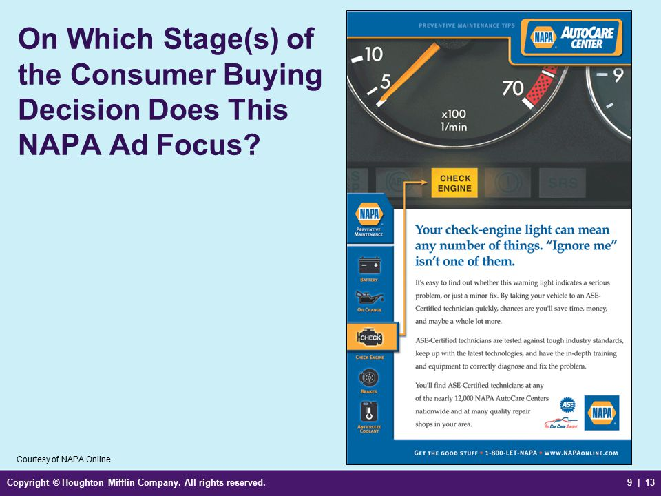 On Which Stage(s) of the Consumer Buying Decision Does This NAPA Ad Focus