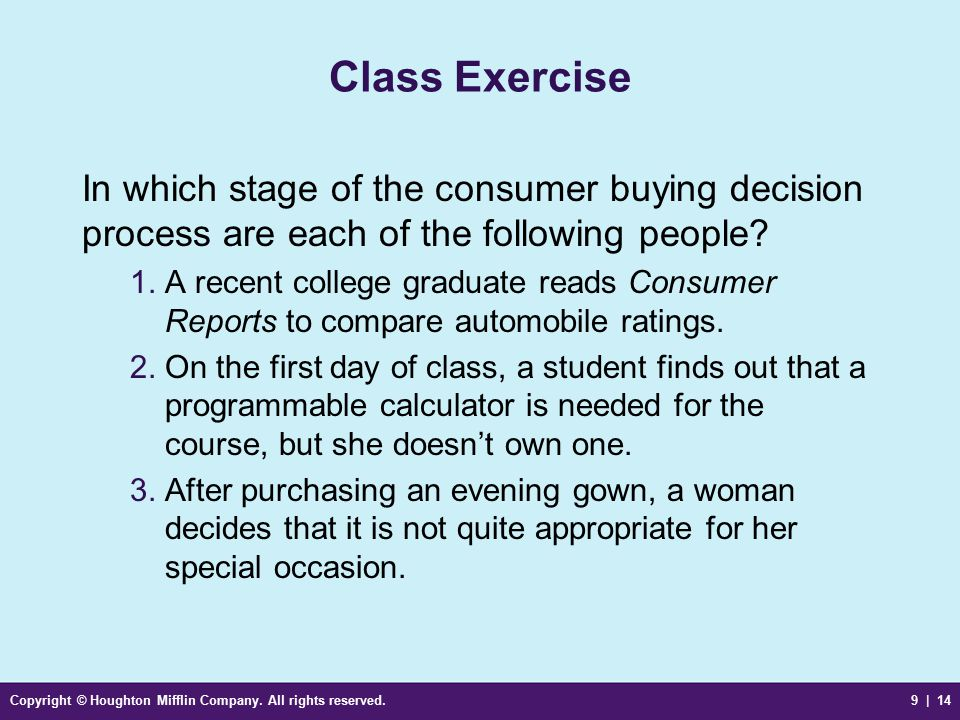 Class Exercise In which stage of the consumer buying decision process are each of the following people
