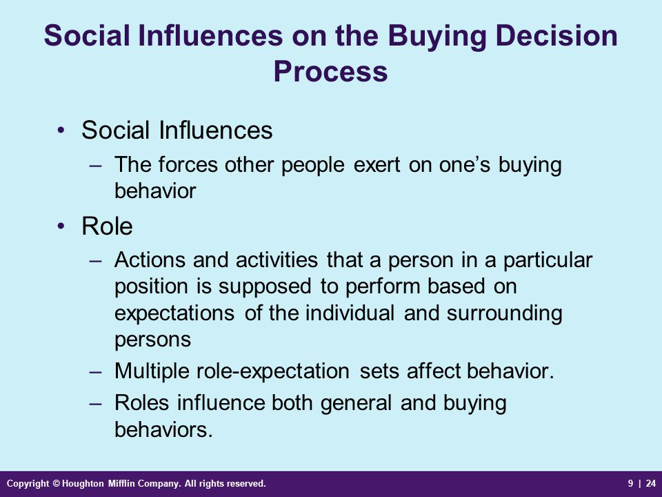 Social Influences on the Buying Decision Process