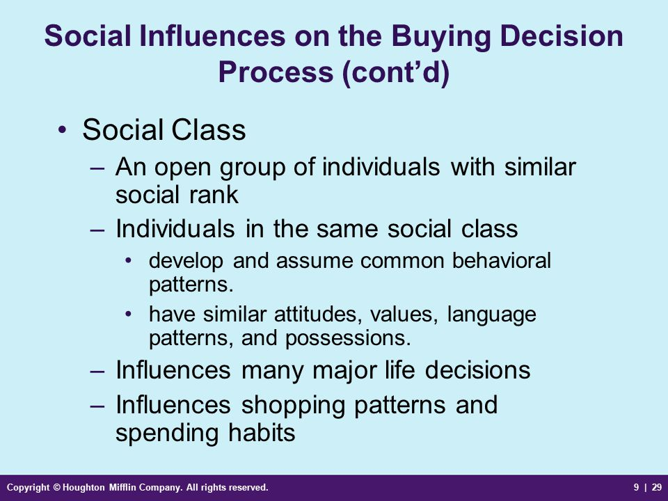Social Influences on the Buying Decision Process (cont'd)