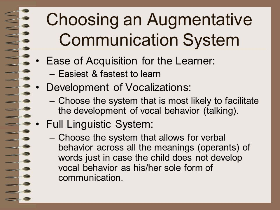 Choosing an Augmentative Communication System