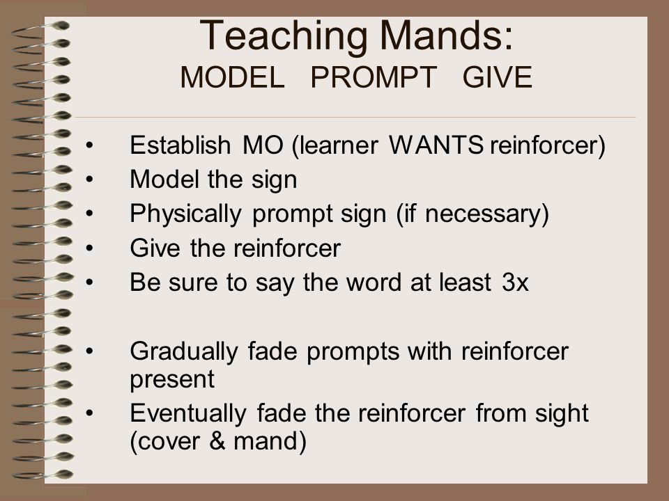 Teaching Mands: MODEL PROMPT GIVE