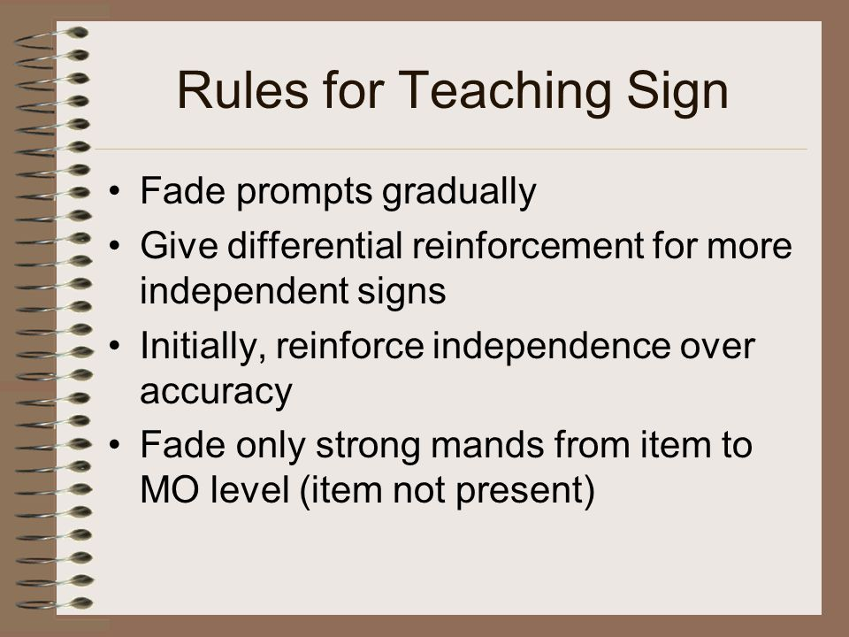 Rules for Teaching Sign