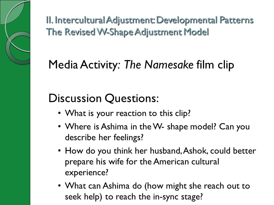 Media Activity: The Namesake film clip Discussion Questions: