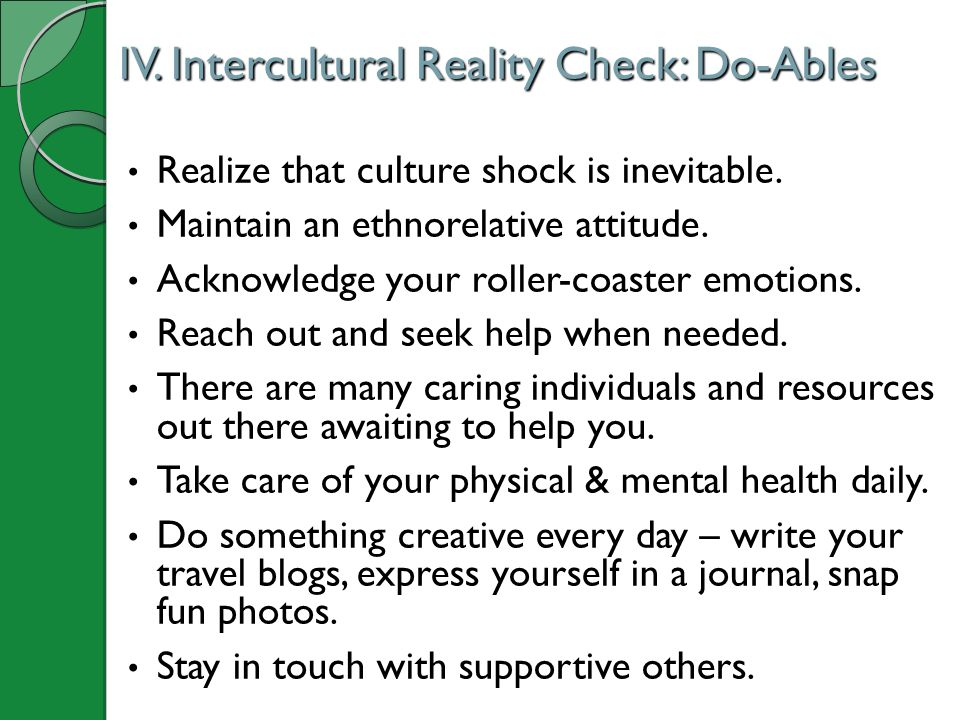 IV. Intercultural Reality Check: Do-Ables