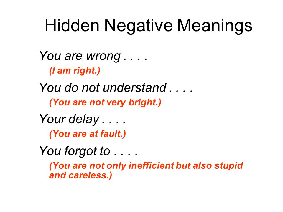 Hidden Negative Meanings