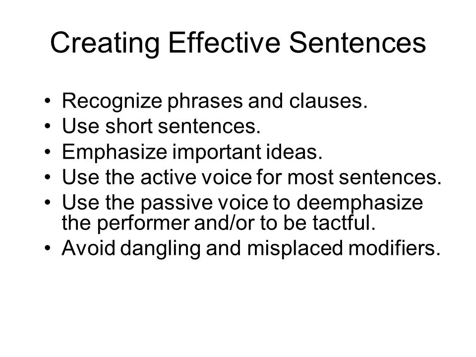 Creating Effective Sentences