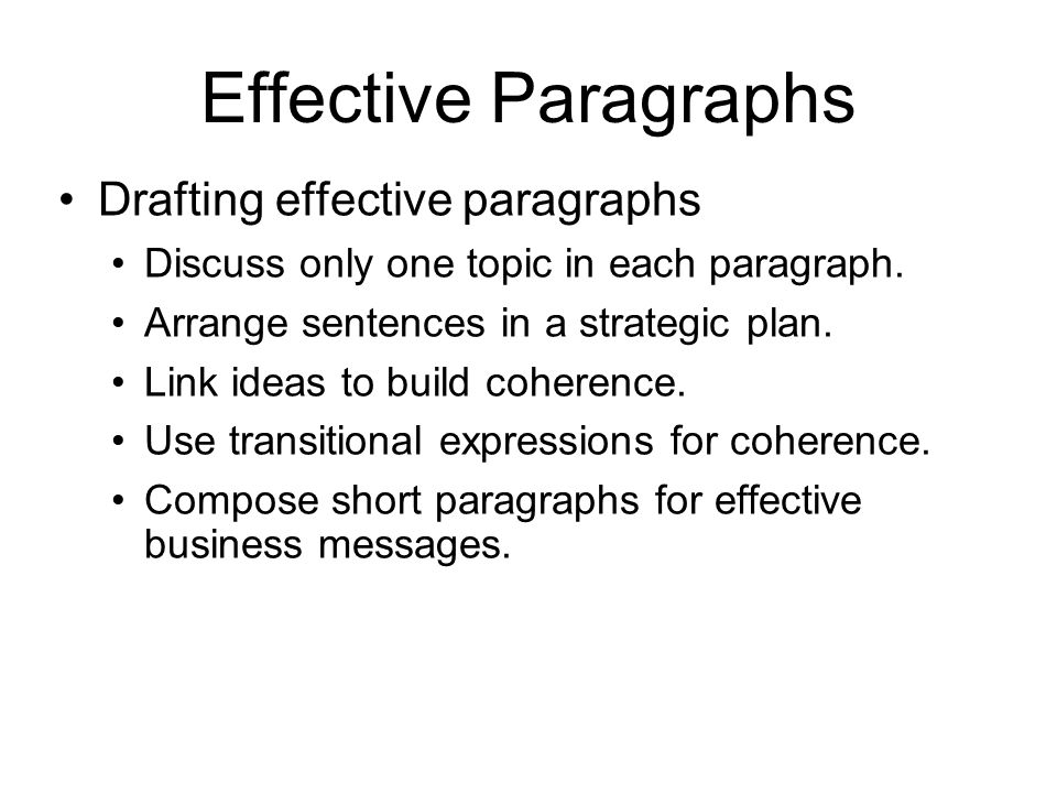 Effective Paragraphs Drafting effective paragraphs