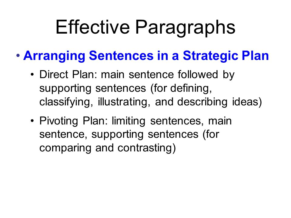 Arranging Sentences in a Strategic Plan