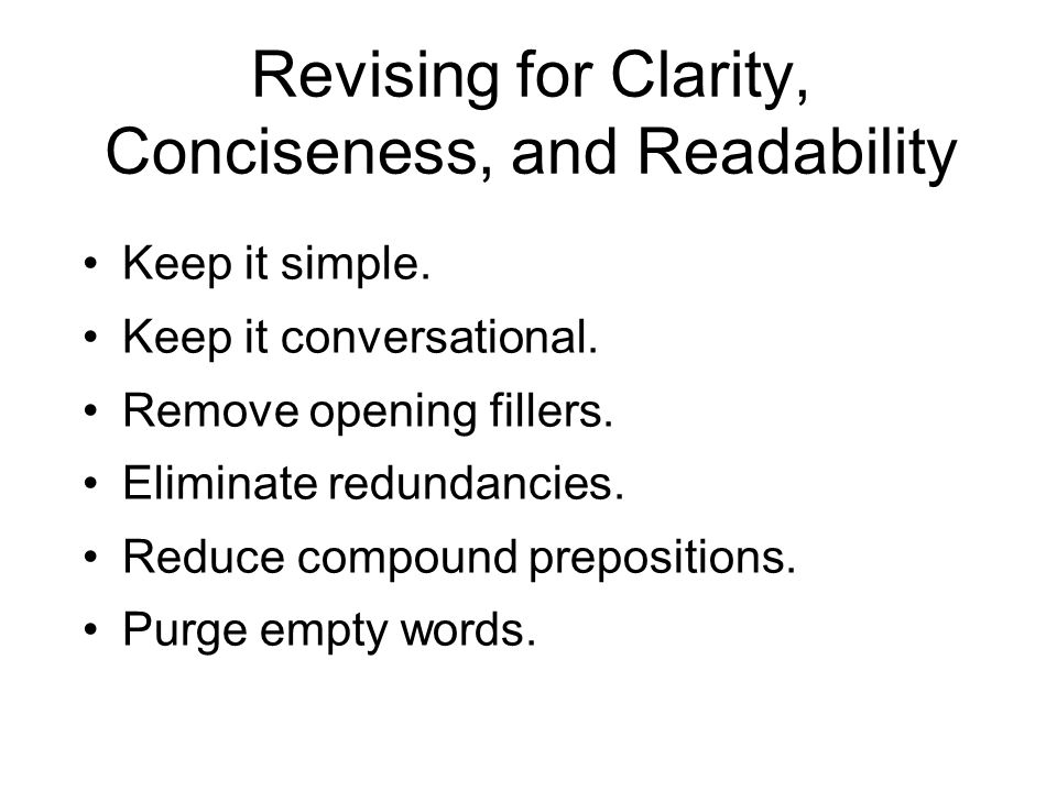Revising for Clarity, Conciseness, and Readability