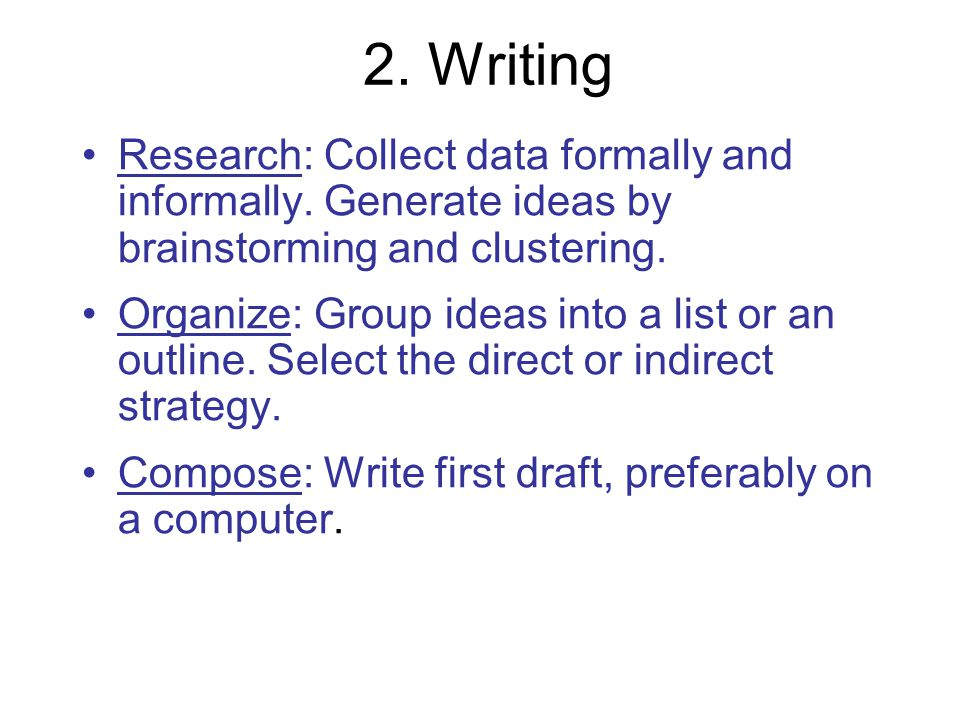2. Writing Research: Collect data formally and informally. Generate ideas by brainstorming and clustering.