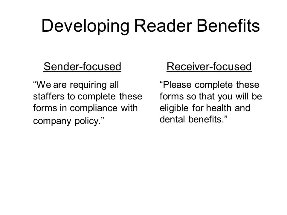 Developing Reader Benefits