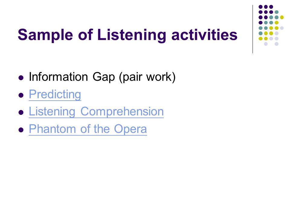 Sample of Listening activities