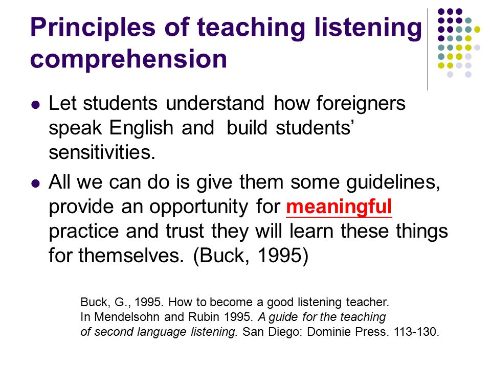 Principles of teaching listening comprehension