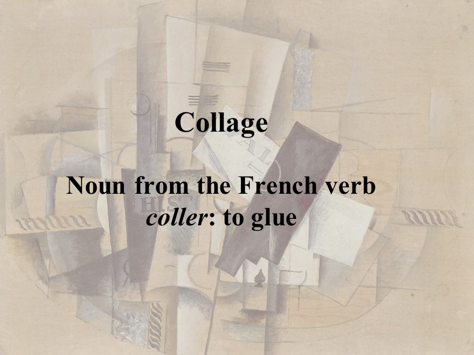 Noun from the French verb coller: to glue