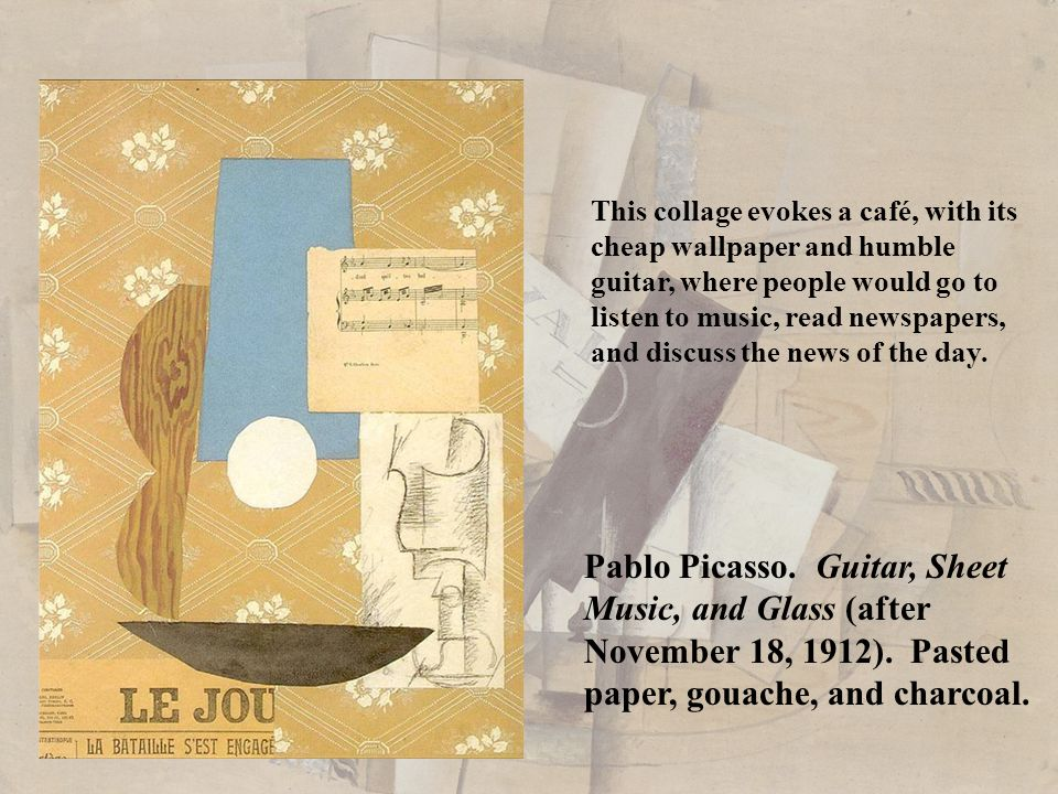 Pablo Picasso. Guitar, Sheet Music, and Glass (after