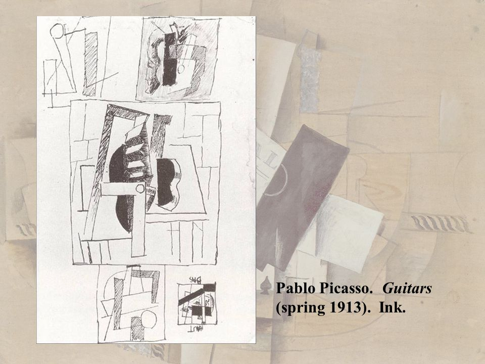 Pablo Picasso. Guitars (spring 1913). Ink.