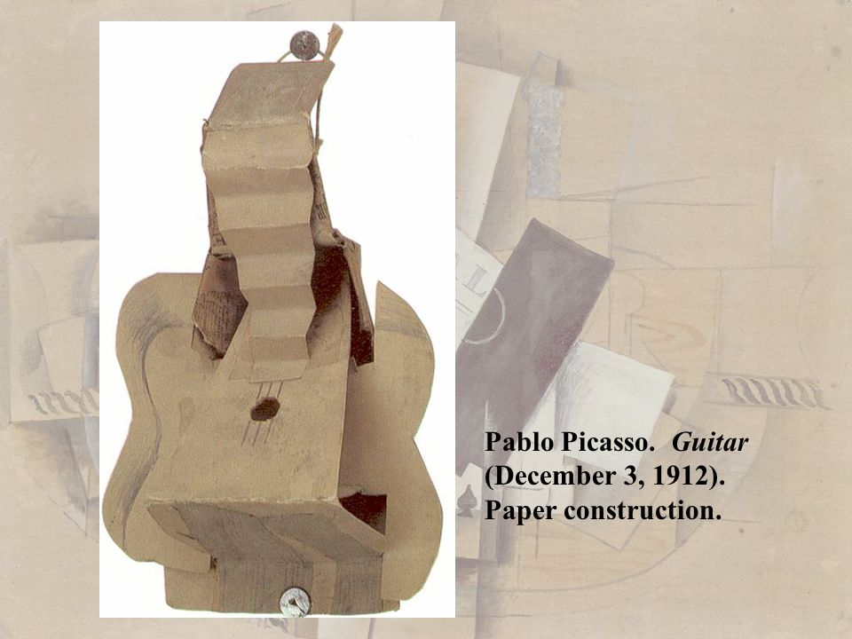 Pablo Picasso. Guitar (December 3, 1912). Paper construction.