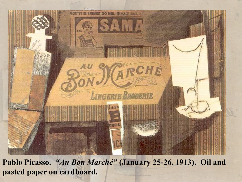 Pablo Picasso. Au Bon Marché (January 25-26, 1913). Oil and