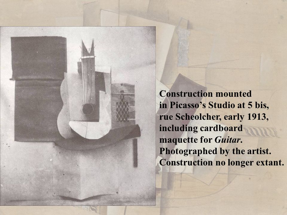 Construction mounted in Picasso's Studio at 5 bis, rue Scheolcher, early 1913, including cardboard.