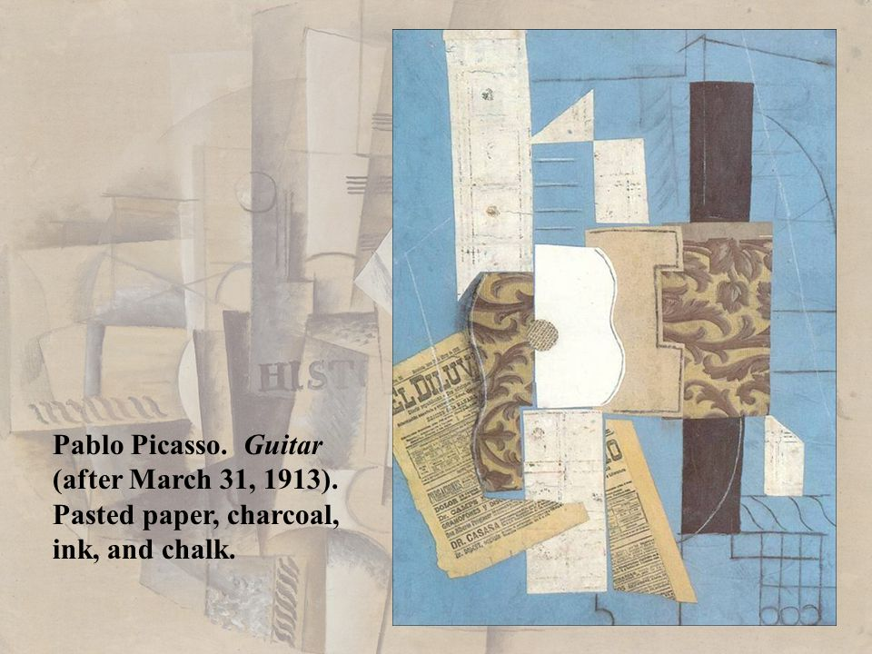 Pablo Picasso. Guitar (after March 31, 1913). Pasted paper, charcoal,