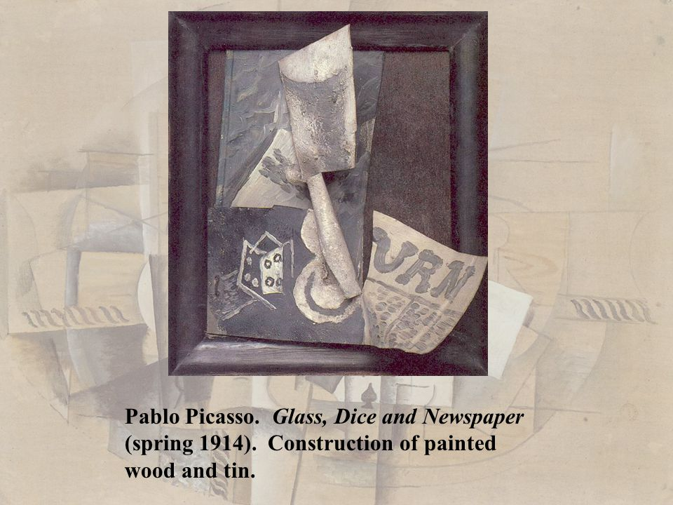 Pablo Picasso. Glass, Dice and Newspaper