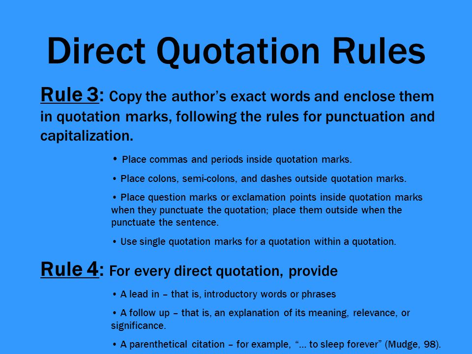 Direct Quotation Rules