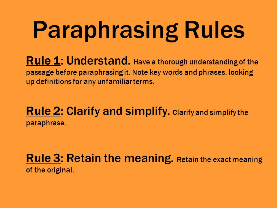 Paraphrasing Rules