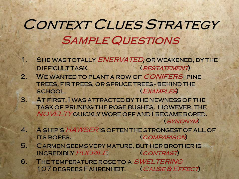 Context Clues Strategy Sample Questions